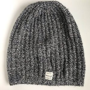 Madewell Grey and White Marled Slouch Beanie Hat